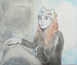 A Portrait of Claire, watercolour on paper