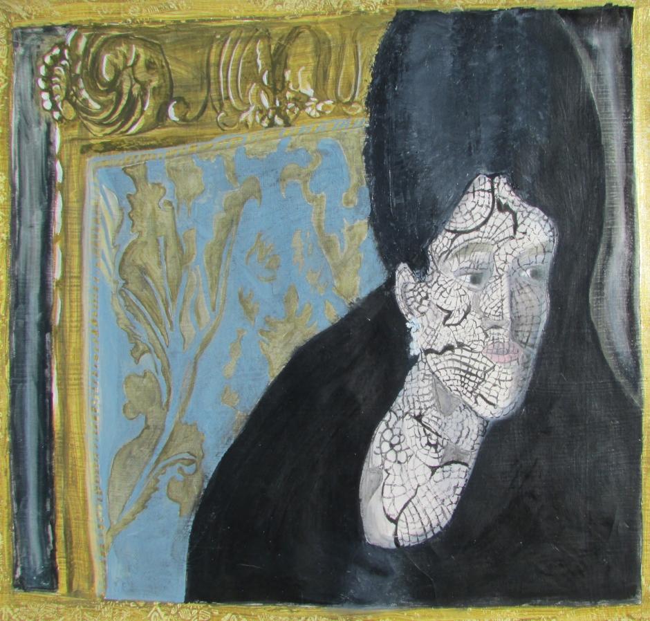 Anna Karenina and the Veil, oil on wallpaper