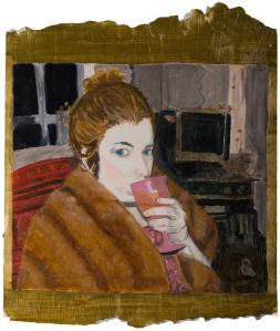 Miz in her Mother's Fur, oil on wallpaper