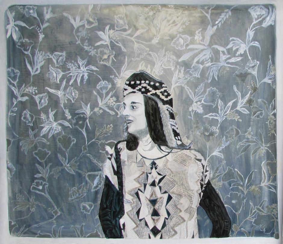 'Similitude - A Portrait of Emma', oil on wallpaper