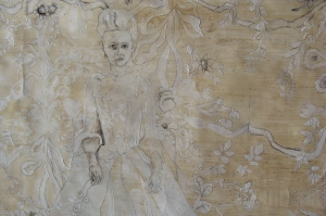 The Unending Dissolution of the Floral Arabesque, oil and tea on wallpaper