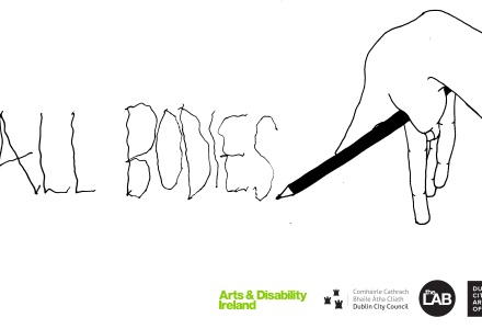 ALL BODIES Image logo black line drawing of my hand affected by cerebral palsy writing the wonky words ALL BODIES