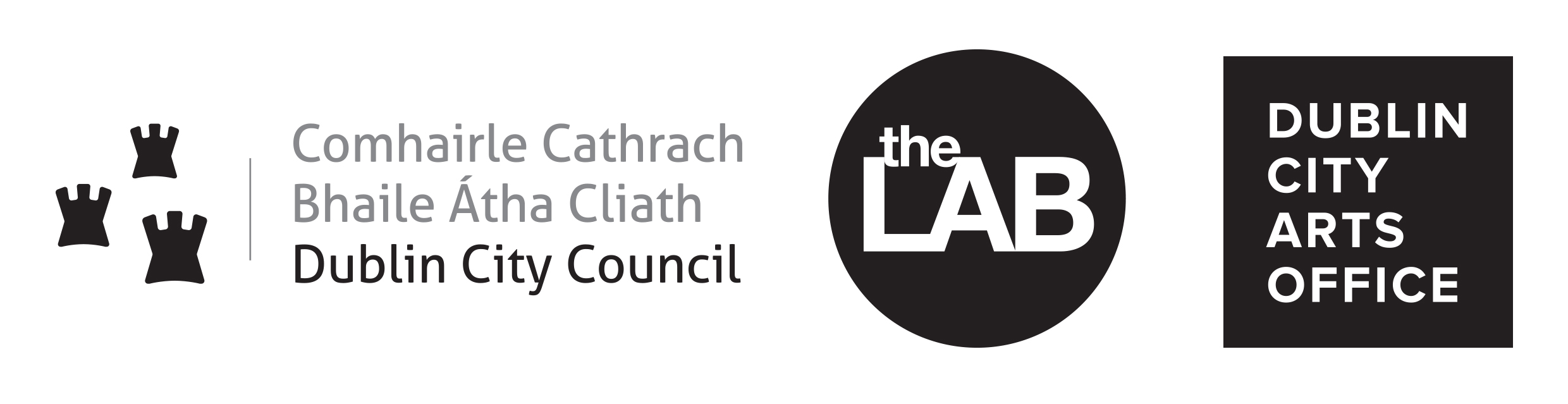 black and white Dublin City Council, the LAB Gallery and Dublin City Arts Office Logo