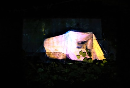 pinkish coloured projection of tent on jet black background. Some green foliage visible.